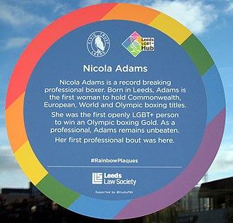 Nicola Adams - Image: Nicola Adams Rainbow Plaque