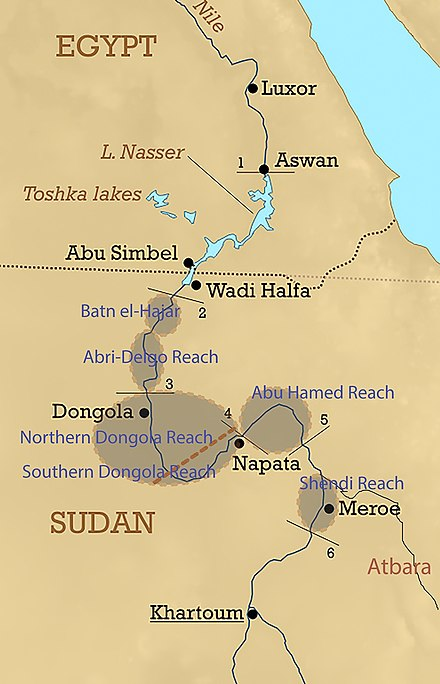 Lower Nubia lies mainly between the first and second cataracts with some historical overlappings.