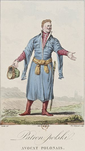 Szlachta - A Polish aristocrat representing the style of Sarmatism by wearing a kontusz with żupan and holding the rogatywka peaked cap on an 18th century drawing by French-born Jean-Pierre Norblin de La Gourdaine