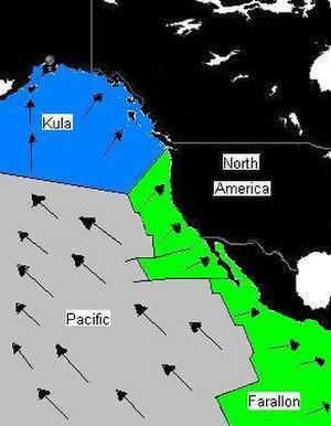 Pacific-Farallon Ridge - Relative velocity vectors of Pacific, Farallon, and Kula plates 55 million years ago