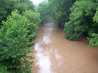 Hughes River (West Virginia) - The North Fork of the Hughes River as viewed from the North Bend Rail Trail east of Cairo in 2006