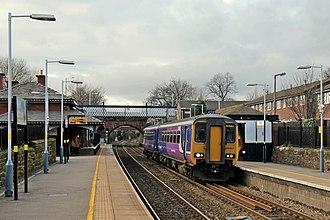 Rainhill railway station - Image: Northern Rail Class 156, 156427, Rainhill railway station (geograph 3819326)