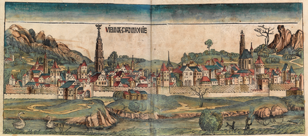 Depiction of Vienna in the Nuremberg Chronicle, 1493 Nuremberg chronicles f 098v99r 1.png