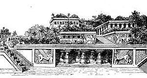 Illustration des jardins suspendus sur le Petit Larousse de 1912