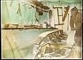 Olav Bjaaland arbeider med en slede i verkstedet som var gravd ut av snøen rundt Framheim, juni 1911 (7642134686).jpg