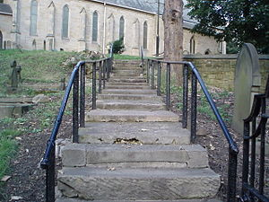 English: Old Step Leading to Church on the Hil...