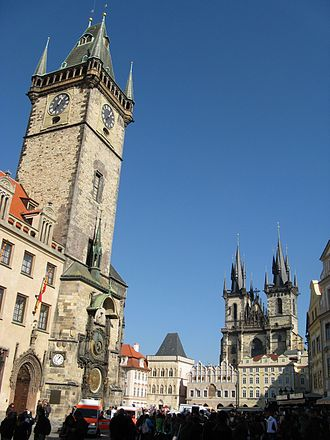 Old Town Square - The Old Town Hall and the Church of Our Lady before Týn