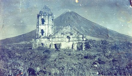 February 1: Cagsawa Church is destroyed by eruption of Mount Mayon. Oldcagsawapi2.jpg