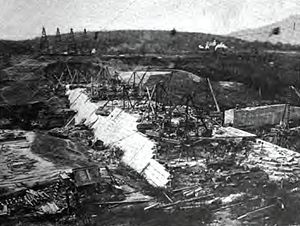 Ashokan Reservoir - Olivebridge Dam under construction to build the Ashokan Reservoir circa 1910