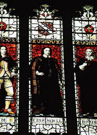 Mansfield College, Oxford - Stained glass window in the college chapel, L-R Sir Henry Vane, Oliver Cromwell and John Hampden