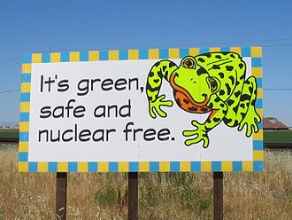 Nuclear-free zone - A pair of billboards in Davis, California advertising its nuclear-free policy.