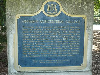 Johnston Hall (University of Guelph) - This is a photograph of the plaque recognizing the Portico and the OAC (click on picture to enlarge and read declaration)