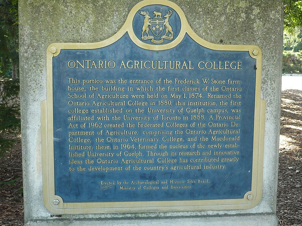 Ontario Agricultural College sign