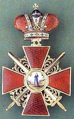 Знак ордена Св. Анны 2-й степени с императорской короной и мечами