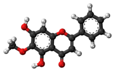 Ball-and-stick model of oroxylin A