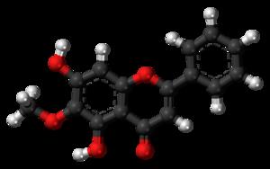 Oroxylin A - Image: Oroxylin A molecule ball