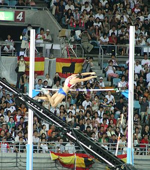Yelena Isinbayeva - Isinbayeva passing the bar in Osaka