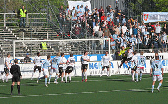 Örebro SK - Örebro (in white), against Malmö FF (in blue).