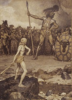A Philistine giant defeated by the young David in single combat