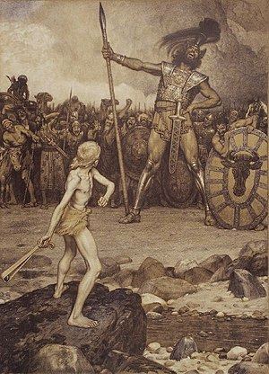 Goliath - David and Goliath, a colour lithograph by Osmar Schindler (c. 1888)