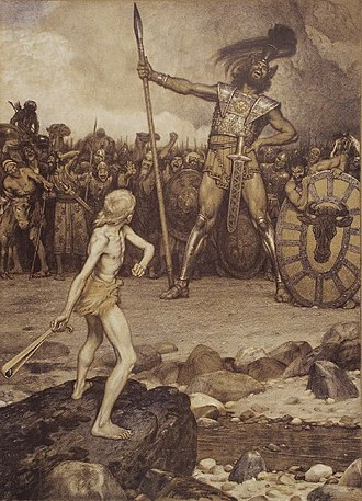 Giant - David faces Goliath in this 1888 lithograph by Osmar Schindler.