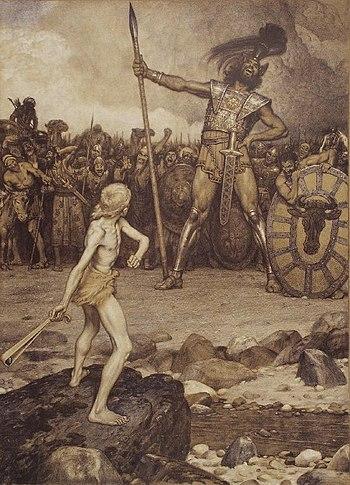 David and Goliath, a colour lithograph by Osma...