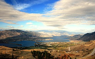 Anarchist Mountain - View of Osoyoos Lake from near the summit of the hill-climb on Highway 3 to Anarchist Mountain