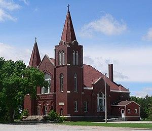 National Register of Historic Places listings in Seward County, Nebraska - Image: Our Redeemer Lutheran Church (Staplehurst, NE) from NE 1