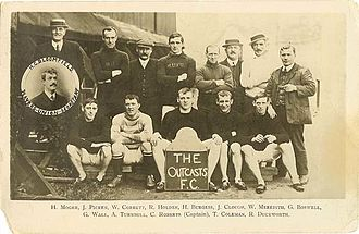 "Professional Footballers' Association - ""Outcasts FC"" photograph taken before the 1909–10 season."