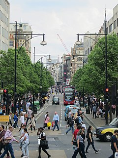 Oxford Street major road in the City of Westminster in London