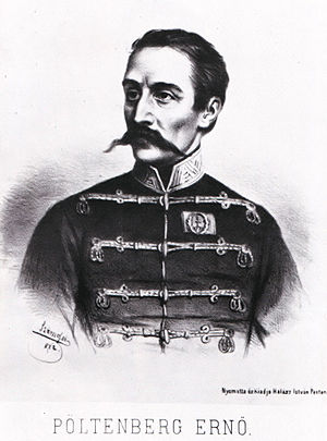 Battle of Kápolna - A lithograph of Ernő Poeltenberg by Elek Szamossy