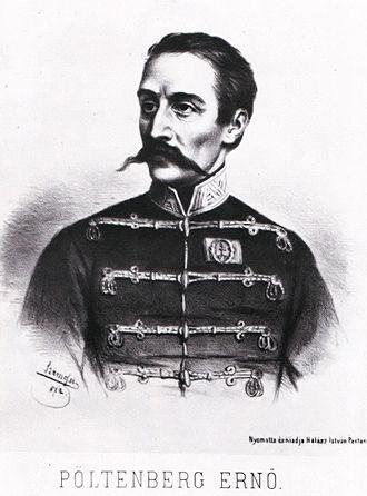 Battle of Kápolna - A lithograph of Ernő Poeltenberg by Elek Szamossy