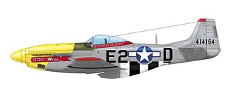"""172d Air Support Squadron - North American P-51D-10-NA Mustang 44-14164 """"Detroit Miss"""" of the 375th Fighter Squadron of the 361st Fighter Group USAAF. Urban L. """"Ben"""" Drew flew this aircraft in the autumn 1944 a shot down four German aircraft. Totally he claimed six victories"""