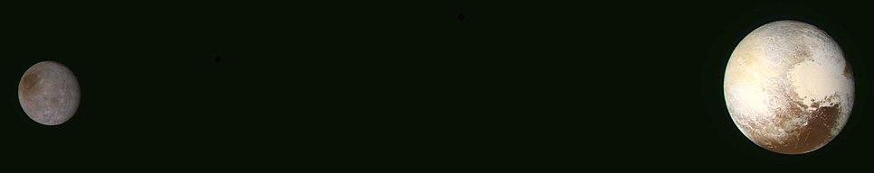 Pluto och Charon sedd från New Horizons (högsta upplösning; färg; 14 juli 2015)