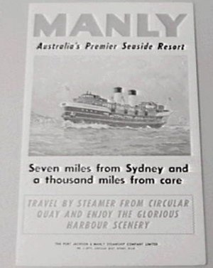 Port Jackson and Manly Steamship Company - An advertisement for the Port Jackson and Manly Steamship Company circa 1940