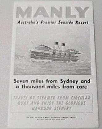 Port Jackson and Manly Steamship Company - An advertisement for the Port Jackson and Manly Steamship Company circa 1940