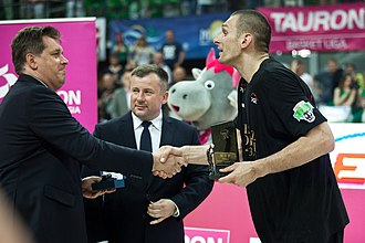 2013–14 PLK season - Filip Dylewicz receiving the Finals MVP Award