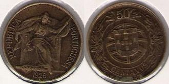 Portuguese escudo - 0$50 of 1926