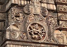 Six armed Mahisamardini Durga image on the tower