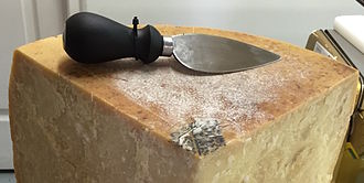 Cheese knife - Parmesan cheese knife, featuring a short, stubby blade