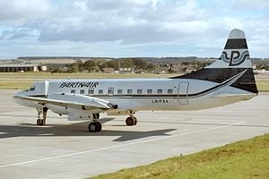 Partnair - The Convair CV-580 LN-PAA was the accident aircraft in Partnair Flight 394, here at Aberdeen Airport in 1987