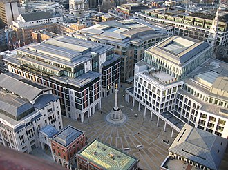 London Stock Exchange - Paternoster Square; the LSE occupies the building that takes up much of the right side of this picture.