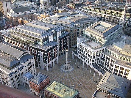 The London Stock Exchange in the City of London, the largest exchange in Europe by capitalisation. Paternoster Square.jpg