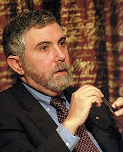 Krugman at a press conference after receiving the Nobel Prize in Economics in 2008