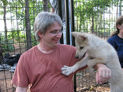Paul and wolf cub (3684549114)