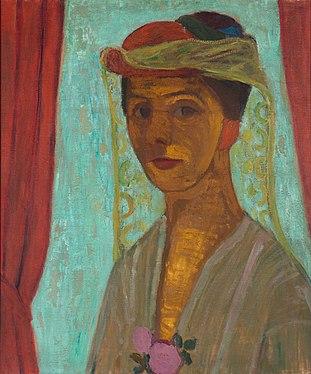 Paula Modersohn-Becker - Self-portrait with hat and veil - Google Art Project.jpg