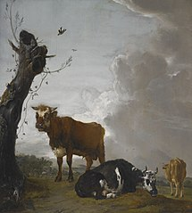 A Young Bull and two Cows in a Meadow