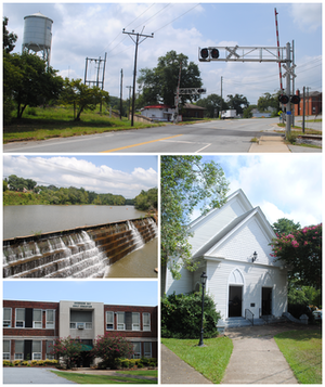 Pelzer, South Carolina - Top, left to right: South Carolina Highway 8, Saluda River, Pelzer Primary School, Pelzer Presbyterian Church