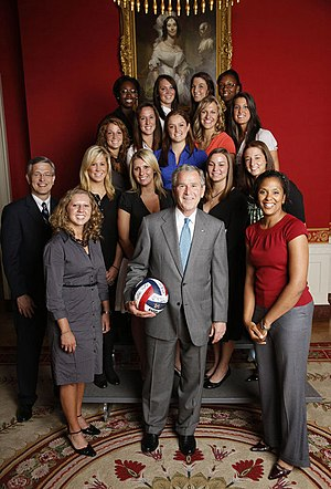 2007 NCAA Division I Women's Volleyball Tournament - The Pennsylvania State University Nittany Lions, including tournament most valuable player Megan Hodge, are honored at the White House by President of the United States George W. Bush in June 2008 for their winning the national championship.