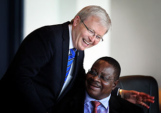 Peter Mutharika - Mutharika with Australian Foreign Minister Kevin Rudd